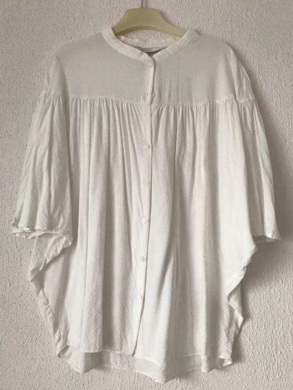 biała bluzka ZARA Basic XS S nietoperz z krótkim rękawem
