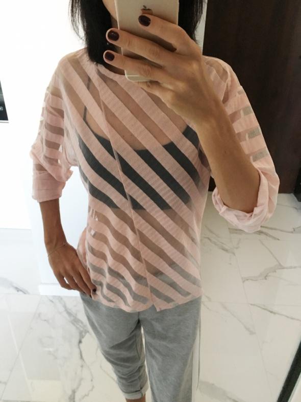 Oryginalna Asymetryczna bluzka Zara pudrowy róż oversize w pask...