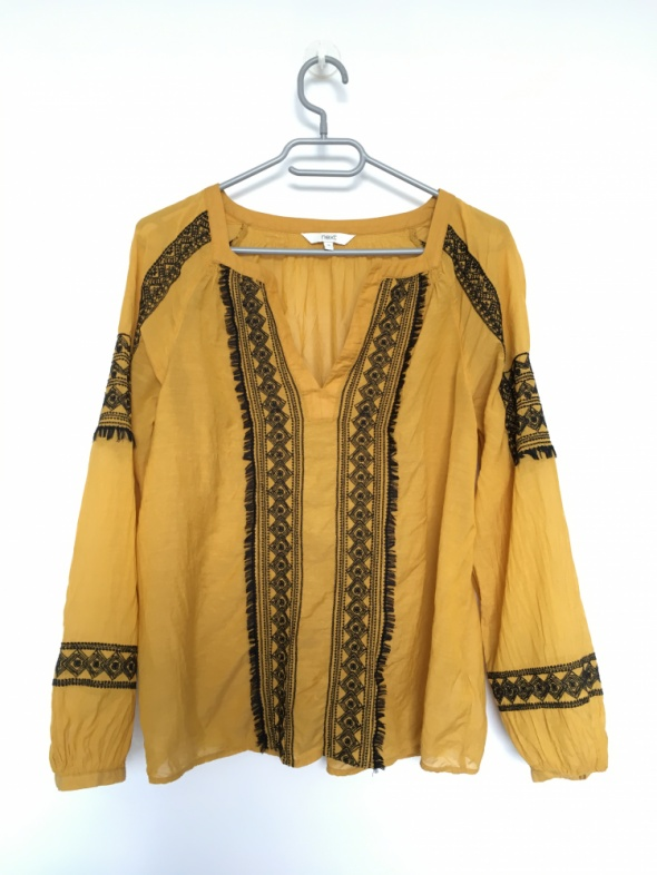 Oryginalna Musztardowa koszula Next Boho wyszywane wzory
