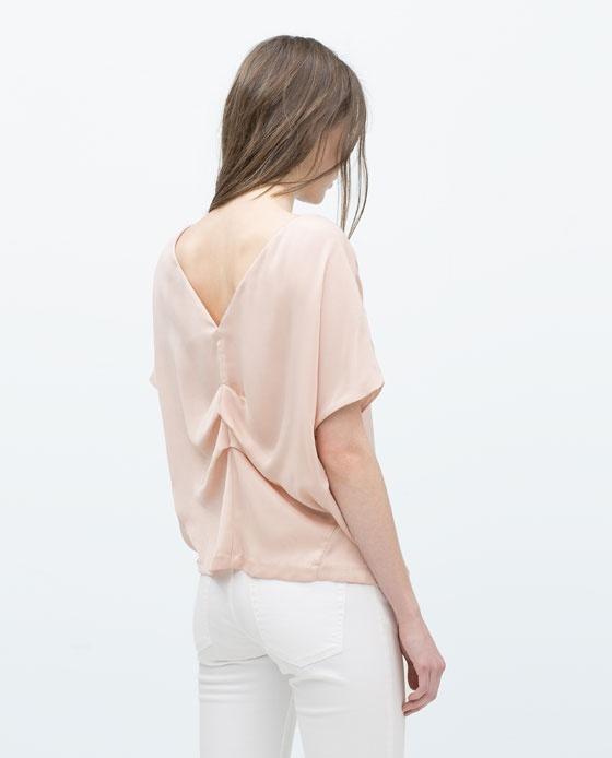 Bluzka Zara oversize ozdobne plecy Nude jedyna taka pudrowy roz