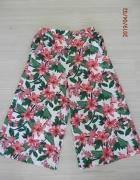 Spodnie Kuloty Culotte Szerokie Nogawki Białe w Kwiaty Wysoki S...
