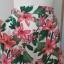 Spodnie Kuloty Culotte Szerokie Nogawki Białe w Kwiaty Wysoki Stan by UK 38