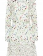 Nowa sukienka pastelowa BonPrix 50 5XL szyfon kwiatowa wzór flo...