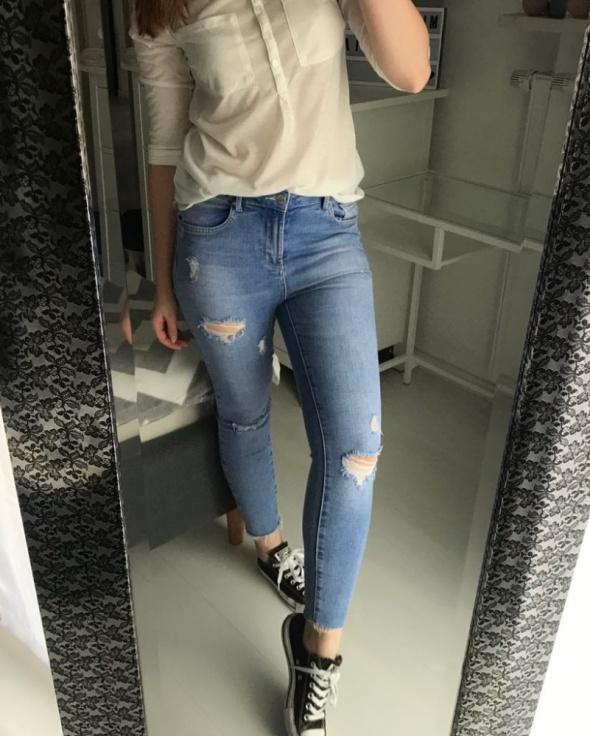 Jeansy spodnie New Look Jenna S M przetarcia wysoki stan