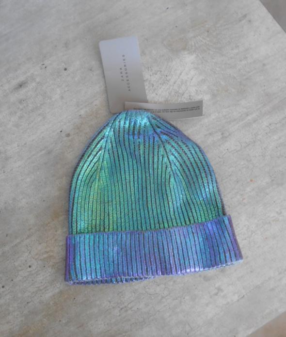 Zara nowa metaliczna czapka zimowa