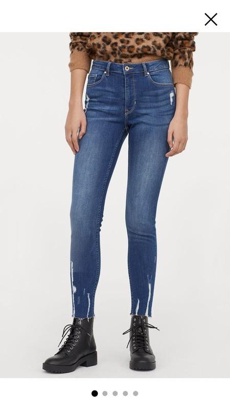 H&M jeansy strzępiasty dół przetarcia rurki...