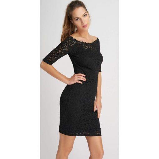 Suknie i sukienki Koronkowa mała czarna sukienka tuba Orsay 38 NOWA