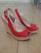 Czerwone sandały na koturnie imitacja lnu 38...