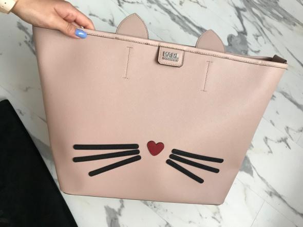 torba torebka shopper Karl Lagerfeld pudrowy róż Choupette oryginalna