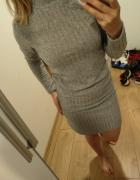 szara sukienka golf na jesień i zimę...