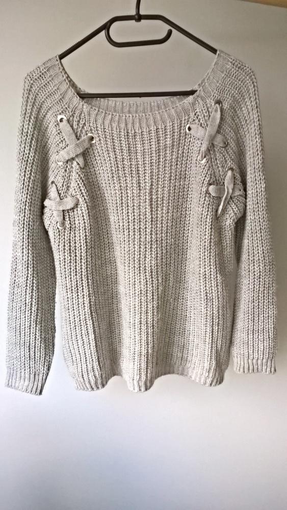 Szary sweterek ozdobne sznurowania S M...
