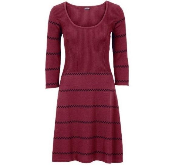 Bordowa w paskidzianinowarozkloszowana sukienka r40
