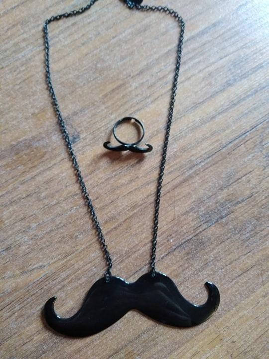Komplet naszyjnik pierścionek wąsy