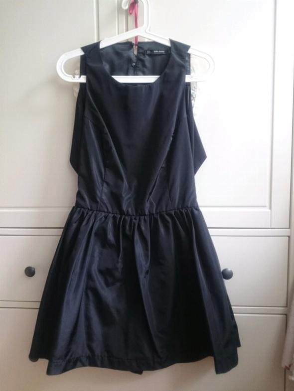 Czarny kombinezon sukienka odkryte plecy spódnicospodnie ZARA S M 36 38