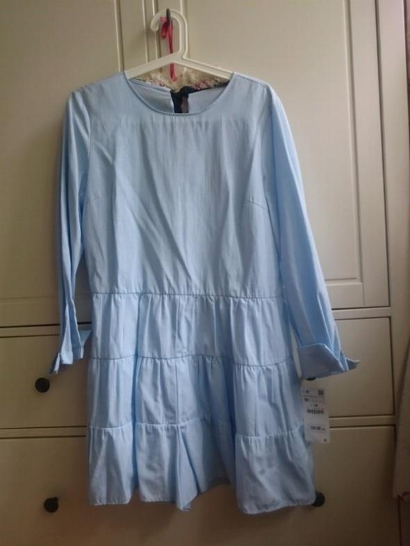 Błękitny niebieski kombinezon sukienka Zara 38 M