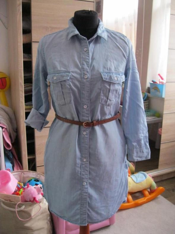 sukienka jeans H&M koszulowa 36 niebieska