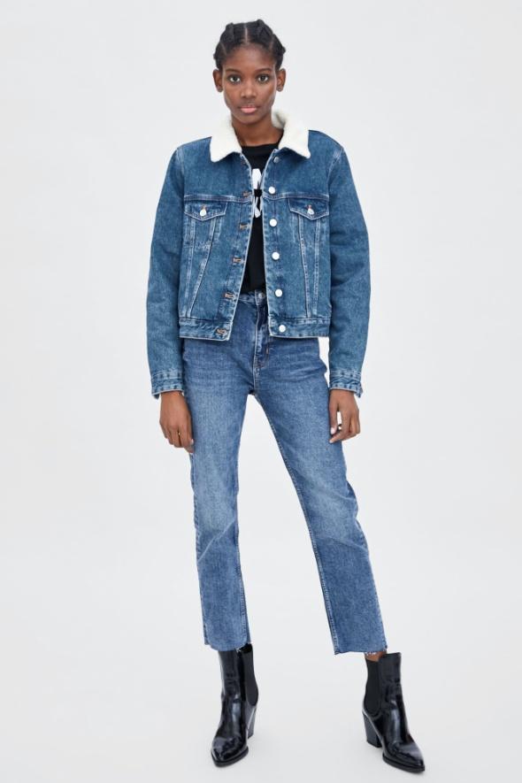 Nowa kurtka jeansowa z kożuszkiem Zara ocieplana jeans rozmiar XS