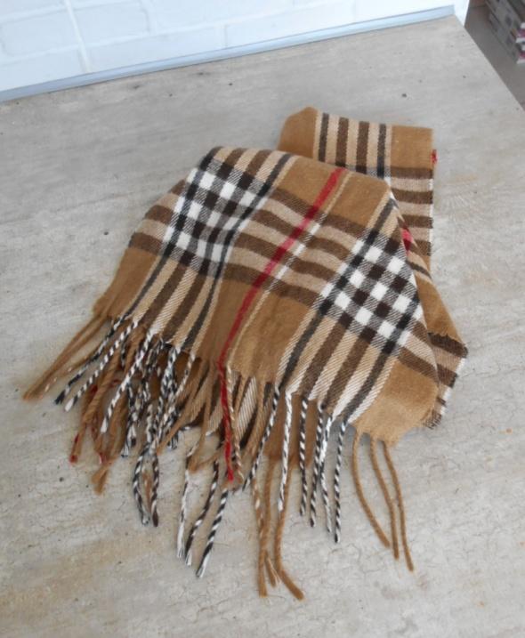 vintage zimowy szalik w kratkę