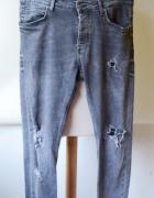 Spodnie Dziury Szare Dzinsy Jeans 42 XL Męskie Zara Man...