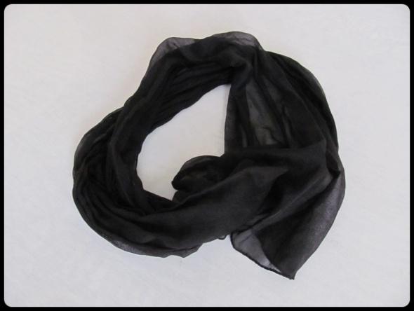 Szaliki i szale Cienki czarny szal 37 cm x 160 cm