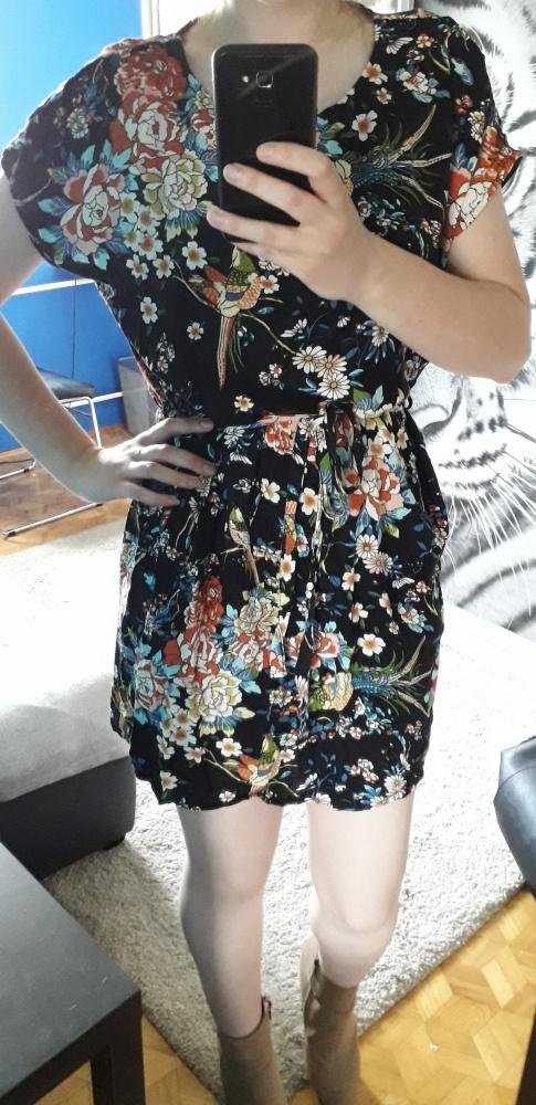 Sukienka Top Secret kwiaty floral wiązana w pasie uniwersalna S...