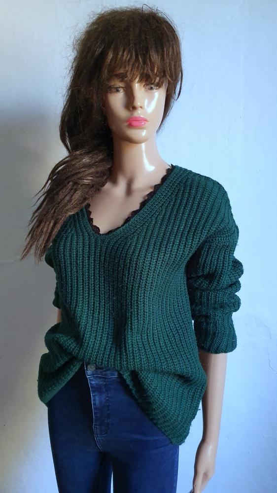 Ciepły sweterek butelkowa zieleń r S