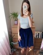 Granatowa rozkloszowana spódnica welurowa na gumce butik rozmia...