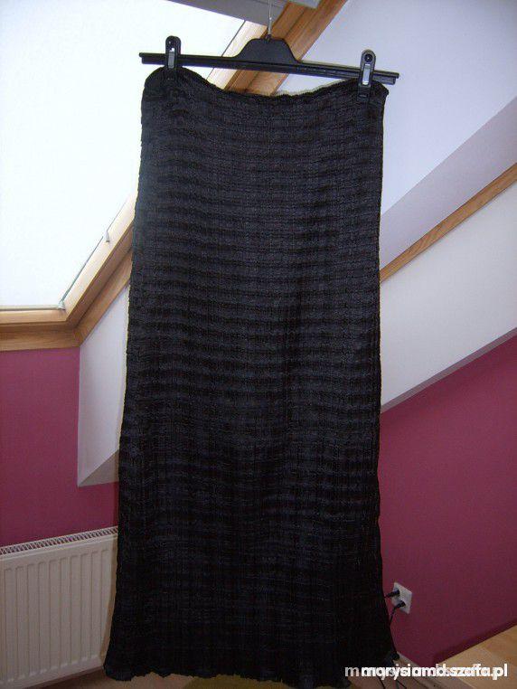 Plisowana czarna long M L długa spódnica