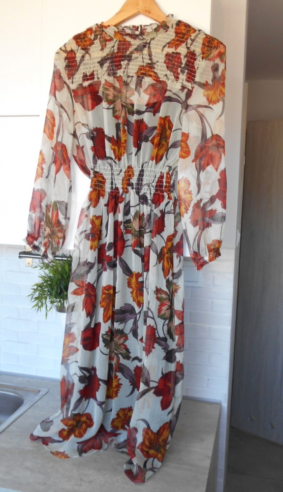 Zara nowa sukienka midi floral kwiaty mgiełka w Suknie i