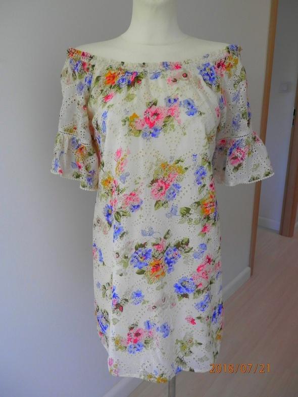 Sukienka Hiszpanka Odkryte Ramiona Obłędne Kwiaty Ażurowy Haft by UK 38