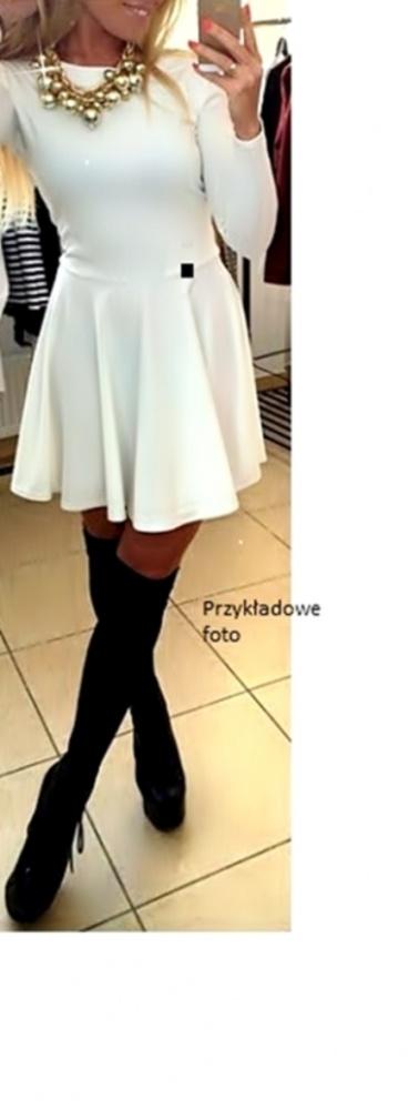 Piękna NOWAbiała sukienka czarne ekoskóra wstawki