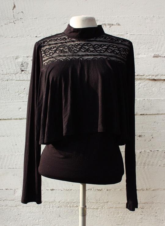 Czarna bluzka z koronka Szachownica