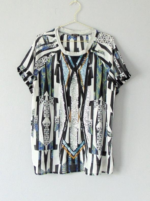 River island bluzka mgiełka t shirt we wzory 40...