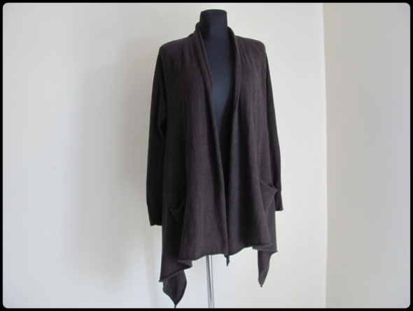 Narzutka ciepła bawełna i wełna L i XL ciemny brąz...