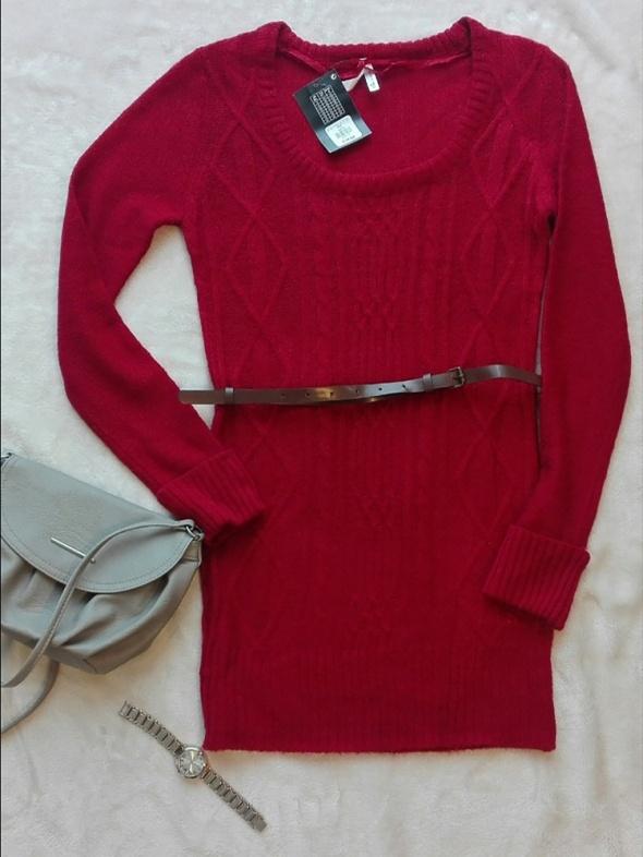 Sweter długi z paskiem czerwony 36 S...
