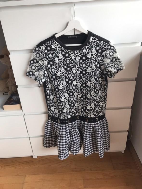 Śliczna sukienka wzory kwiaty krata Zara 38 M modna...
