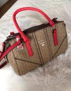 Świetna torebka nowa Guess beżowa logo czerwona tumblr oryginalna