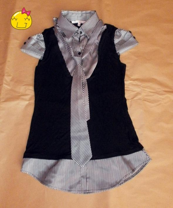 Koszula z kamizelką i krawatem...