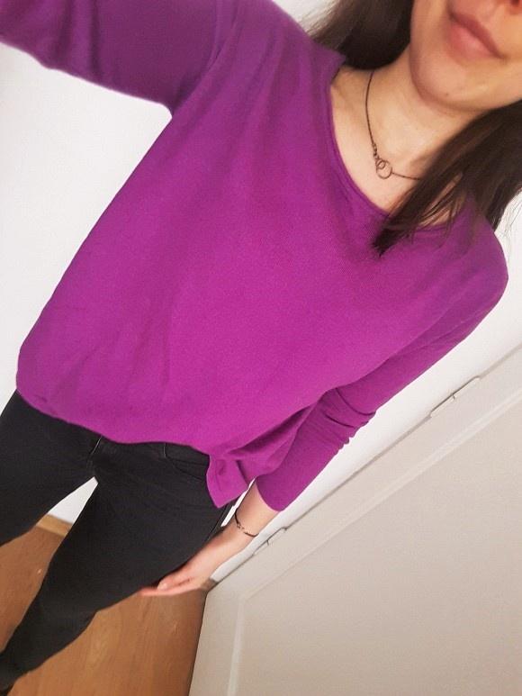 Swetry Fioletowy sweter H&M długi rękaw