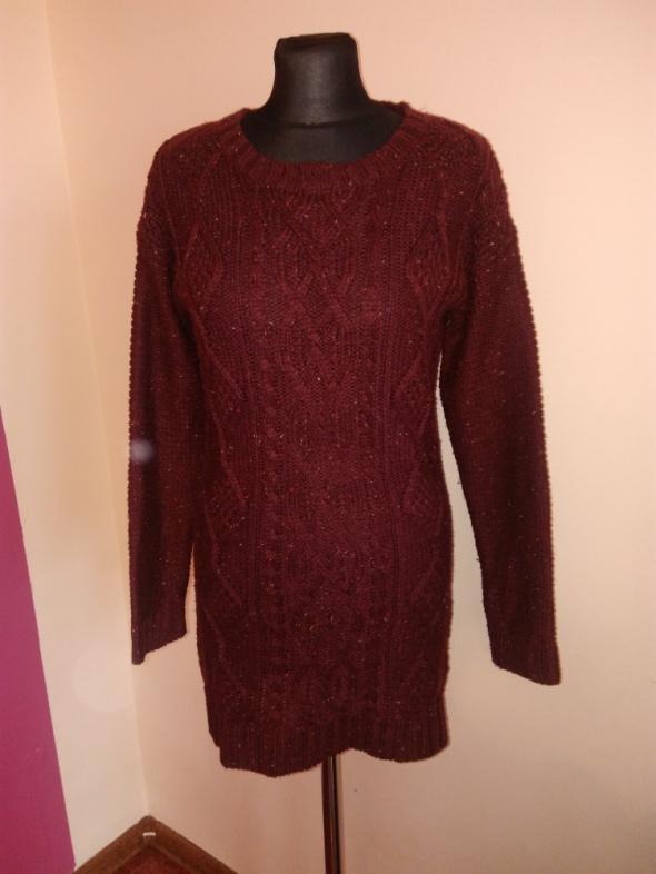 Swetry Bordowy dłuższy sweterek 3638