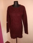 Bordowy dłuższy sweterek 3638