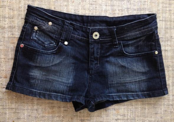Denim Co Jeansowe spodenki szorty czarne z brokatem cekinami XS S 3638