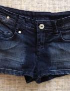 Denim Co Jeansowe spodenki szorty czarne z brokatem cekinami XS...