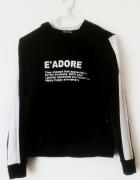 Czarno biała bluza z kapturem sportowa czarna bluza kangurka z ...