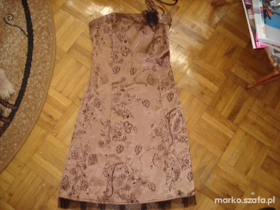 brązowa sukienka w czarne kwiatki