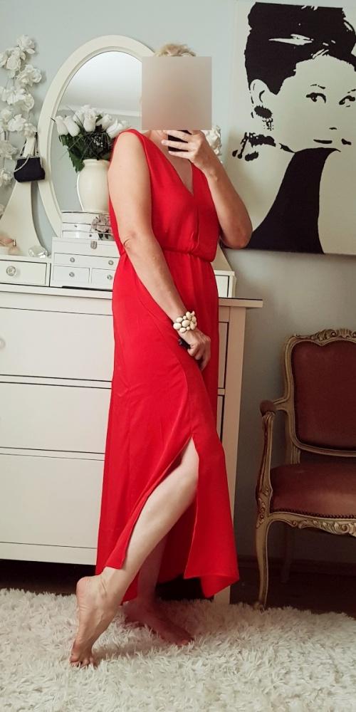 Bodyflirt piękna długa czerwona sukienka 48 50 52