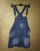 Jeansowe spodenki ogrodniczki na szelkach 38...