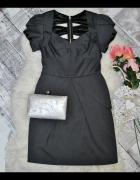 Lipsy London Elegancka Sukienka Grafitowa Ołówkowa Biurowa Bask...