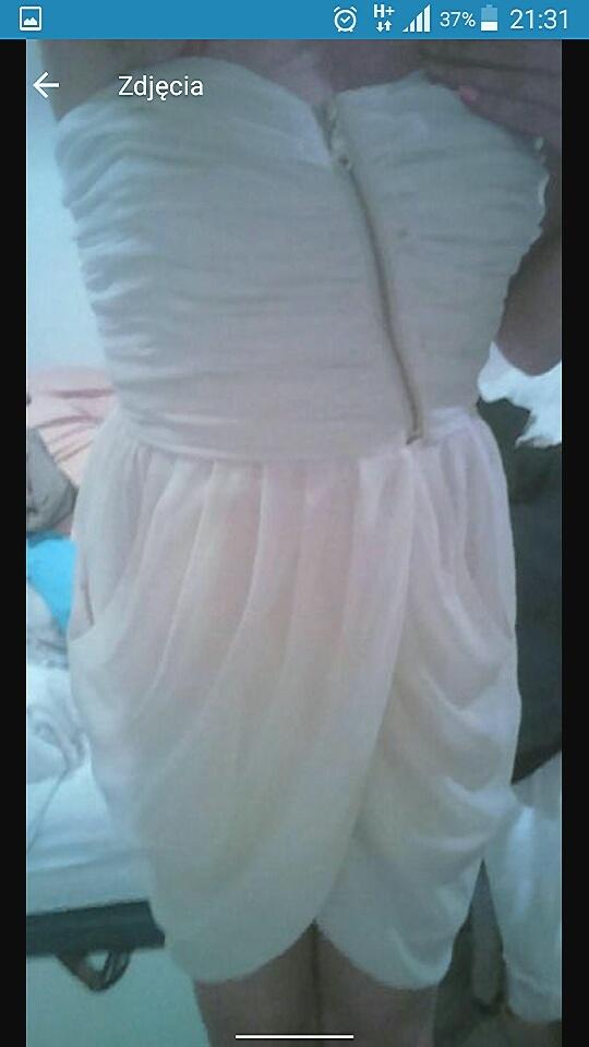 Sukienka jasny bez kremowa z zamkiem bez ramiączek...