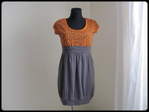 GINATRICOT sukienka 38 M pomarańczowo szara...